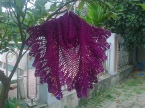 Purple pineapple shawl